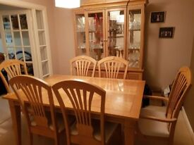 Beautiful traditional light wood dining room table, chairs x 6 and sideboard unit