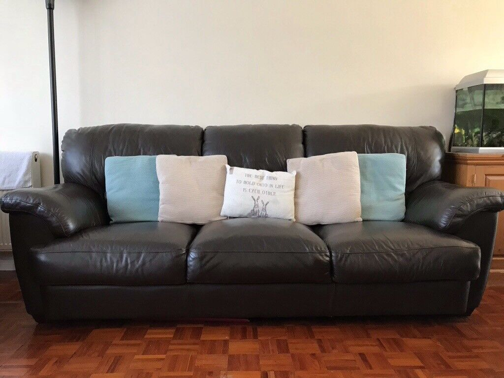 Furniture Village 3 Seater Dark Brown Leather Sofa Now Sold