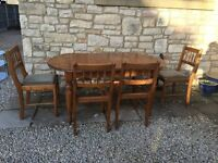 SOLID ANTIQUE PINE *DUCAL* EXTENDING DINING KITCHEN TABLE & 4 CHAIRS - SHABBY CHIC PAINTING