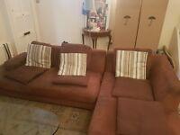 Free corner sofa brown fabric good condition