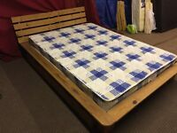 PINE DOUBLE BED WITH MATTRESS AND UNDER DRAW,CAN DELIVER