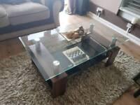 Walnut glass coffee table