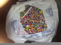 BAG FULL OF BEADS AND HAMA BEADS WITH PEG BOARDS ONLY £3