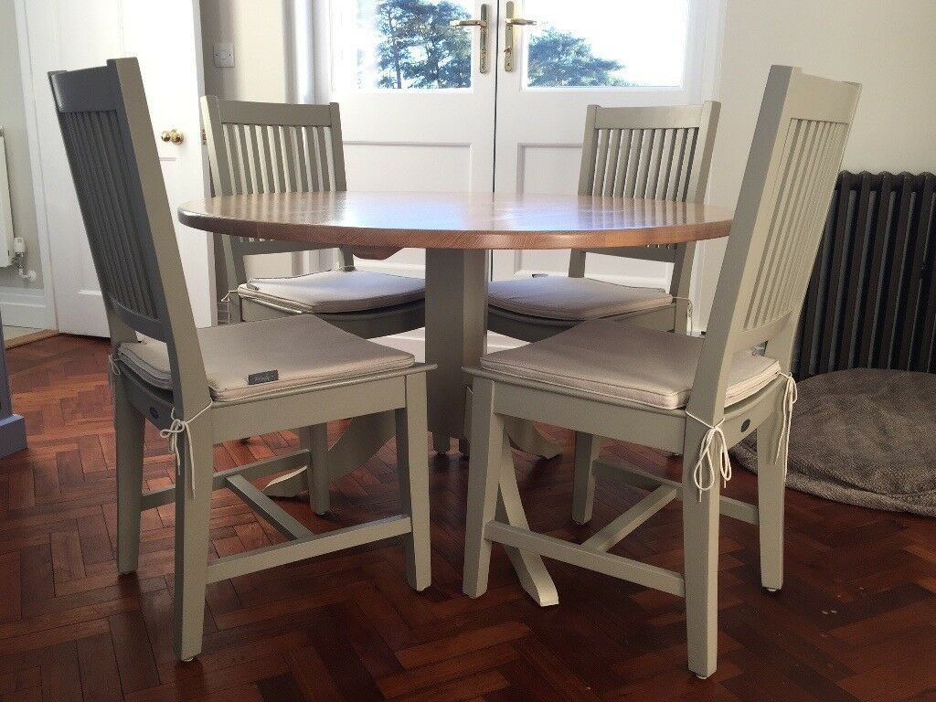 Neptune Harrogate Dining Chairs X 4 In Honed Slate With Linen Chair Cushions