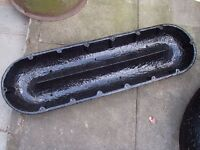 ANTIQUE OBLONG PIG TROUGH FEEDER CAST IRON VINTAGE GARDEN HERB PLANTER