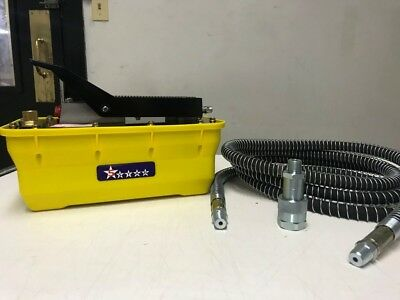Air Hydraulic Foot Pump Pedal 10000 Psi 10ft Hose Coupler Auto Shop Press Fram
