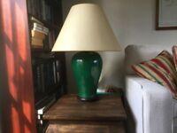 Ceramic lamp with green glaze finish