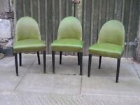 Three Very nice Art Deco arched barrel back dining chairs upholstered in Green