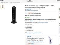 "Oscillating Tower Fan - 29"" Black"