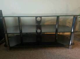 Black glass and chrome tv table