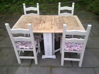 fold away SHABBY CHIC TABLE with four chairs rustic aprox 5ft x 3ft