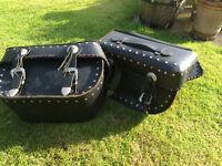 Leather motorbike saddle bags
