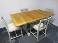 Stunning Oak Dining Suite (Extending Dining Table & Four Chairs) Painted Farrow & Ball Shabby Chic