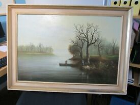 Original painting, signed by Ray Witchard, Rural river landscape, 30inch x 20inch scene,