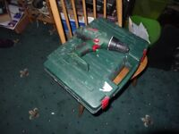 2 Bosch cordless combi drills, PSB 14.4 L1-2 and PSB 18 L1-2 body, with charger and one box