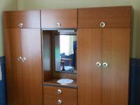 2 double wardrobe/drawer unit wood effect