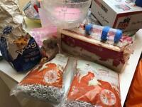 Free hamster/gerbil food, bedding accessories etc