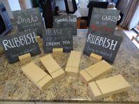 Wedding message slates and beech hardwood holders for sale