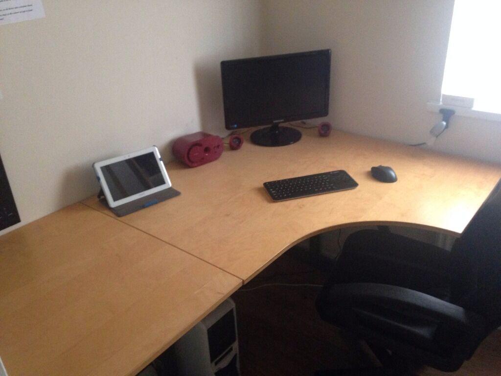 ikea effektiv t corner office desk 50 in pontarddulais swansea gumtree. Black Bedroom Furniture Sets. Home Design Ideas