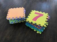 Bundle of 32 foam puzzle play mats some with numbers, some wothlut