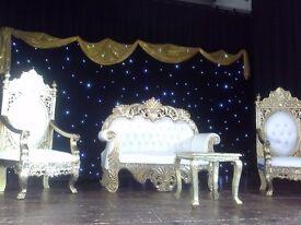 Wedding sofa hire, throne chair hire