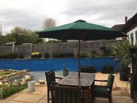 Teak Patio set cushions & large pully system parasol