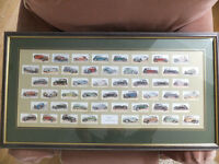 "80th Birthday Present . Framed John Player and Sons Cigarette Cards ""Motor Cars 1936"" Set"