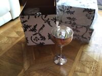3 Pairs of Silver plated wine goblets with hammered finish