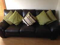 DFS Brown Leather Sofa 3 +2+Footstool Excellent Condition