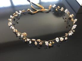 Rosie Willett - Handmade Georgia gold ivory crystal hair piece