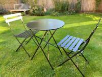 Metal Bistro Folding Table and 2 Folding Chairs