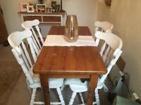 Solid pine table and chairs upcycle