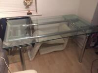 Glass extendable kitchen table