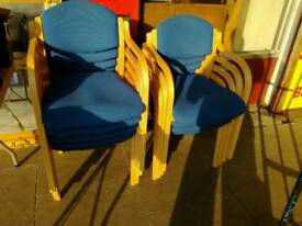Office stackable wooden chairs x9