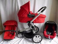 Quinny buzz 3 Red Travel System Pushchair Dreami Carrycot ,Maxi Cosi Cabriofix Car Seat