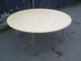 SVEN CHRISTIANSEN BEECH ROUND OFFICE MEETING TABLE 59 INCH ROUND VERY GOOD CONDITION