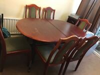 Oval extendable dining table and 6 chairs. In need of TLC. Priced for quick sale