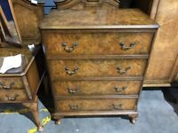 Walnut Chest Of 4 Drawers Made By Berick Furniture - Rare - Vintage