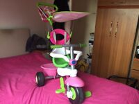 Smart Trike Sport 3 In 1 pink Canopy And Storage