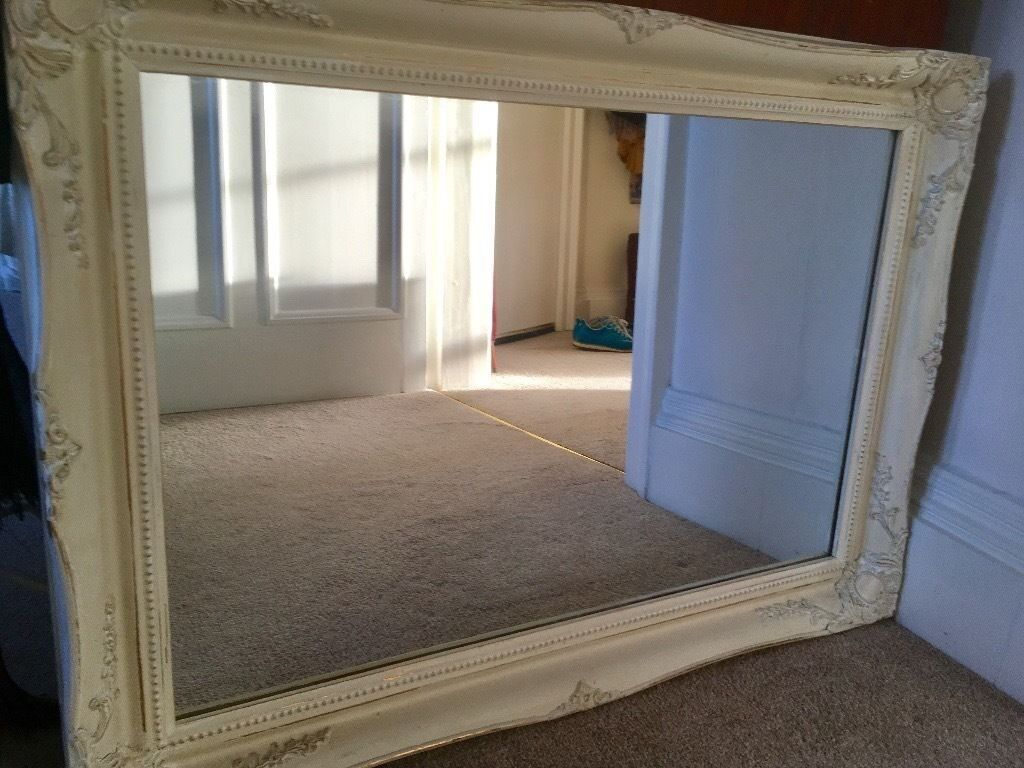 Large ornamental mirror- ivory with gold details, french chic