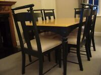 Dining Room Table & 6 Chairs in Beech and Pine