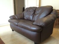 Chocolate Brown Leather 2-seater Sofa - very good condition