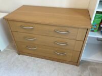 Solid oak chest of drawers, 3 drawers, brushed chrome handles