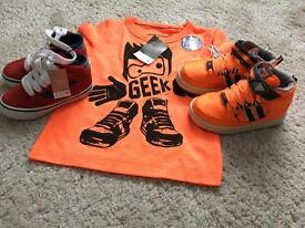 2 pairs Boys NEXT Hi Tops Size 6 & 12-18 month neon orange tee
