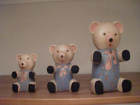 Three Painted Wooden Bears