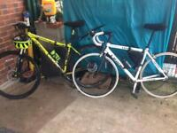 Mountain bike and racer with carbon folks and seat stem