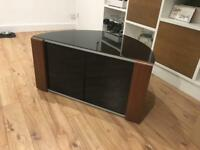 """Sirius 850 walnut and black corner tv cabinet suitable for up to 37"""" tv"""