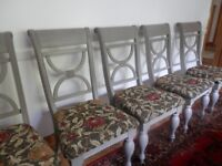 6 pine hand painted dining chairs