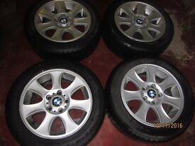 "BMW 16"" Alloys (set of 4) with decent winter runflat tyres (genuine, for E87/E81 1 series)"