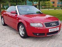 2002 (52) AUDI A4 2.4 V6 SE CONVERTIBLE, 168 BHP, MANUAL, LONG MOT, LEATHER INTERIOR, DRIVES GREAT !